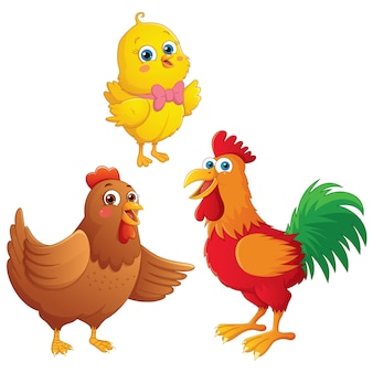 Cartoon chick, chicken and rooster