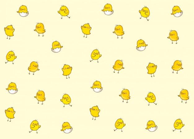 Cartoon chick seamless pattern