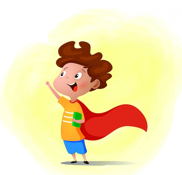 Cartoon child playing superhero with book in