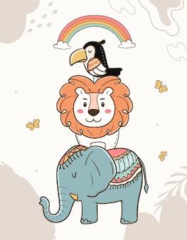 漫画の幼稚な動物のイラスト。象、ライオン、オオハシ、虹。
