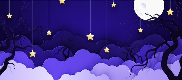 Cartoon childish background with clouds and stars on strings.