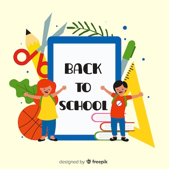 Cartoon children back to school