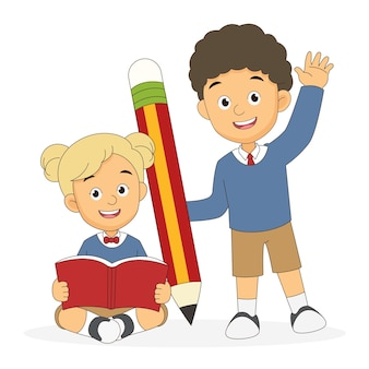 Cartoon children back to school