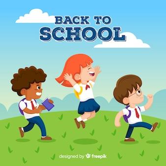 漫画の子供たちが学校の背景に戻る Premiumベクター