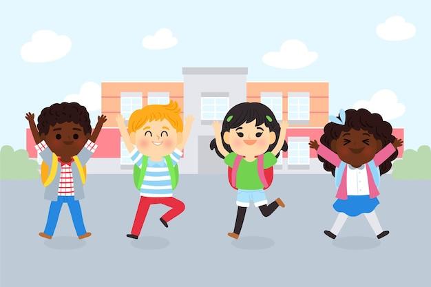 Мультяшный дети обратно в школу концепции