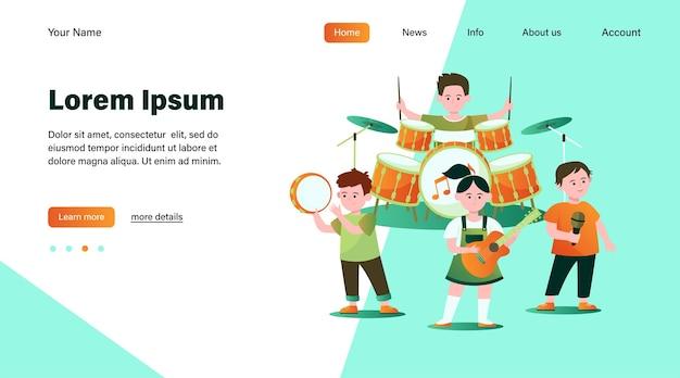 Мультяшный детский оркестр плоской иллюстрации.