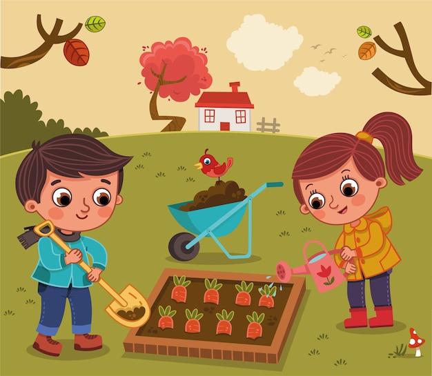 만화 어린이 캐릭터는 채소밭 벡터 일러스트 레이 션에 있습니다
