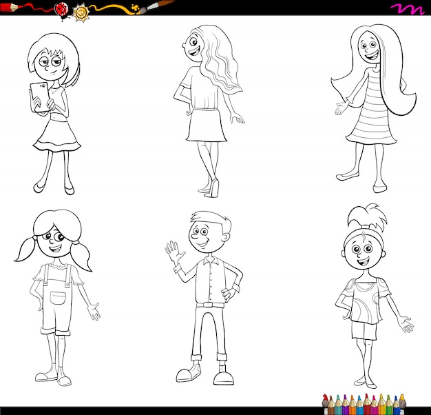 Cartoon children characters coloring book page