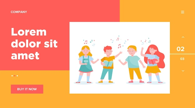 Cartoon children choir flat illustration