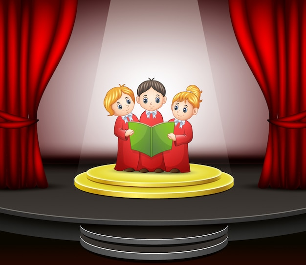 Cartoon of children choir performing on the stage