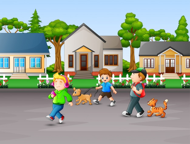 Cartoon children enjoy with their pets at rural house
