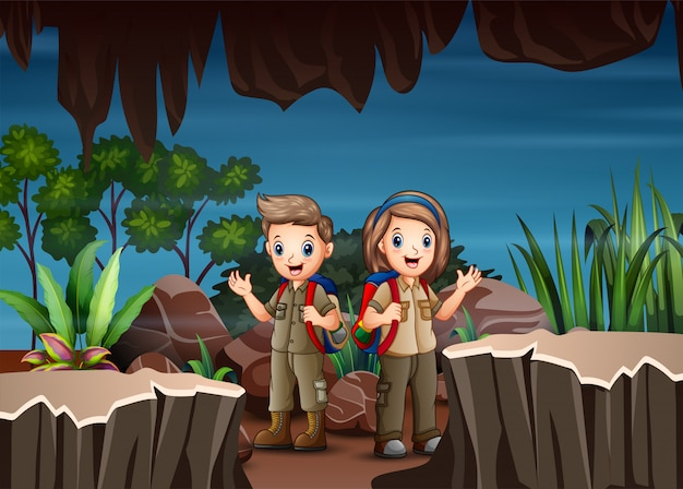 Cartoon children exploring the cave