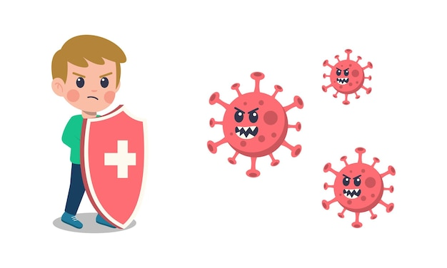 Cartoon children fighting the corona virus.
