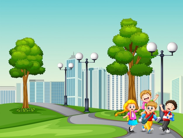 Cartoon of children go to school past the park