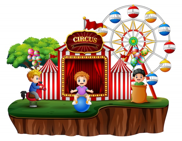 Cartoon children having fun on the amusement