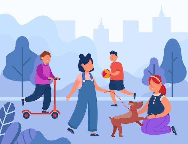 Cartoon children having fun in city park. flat illustration