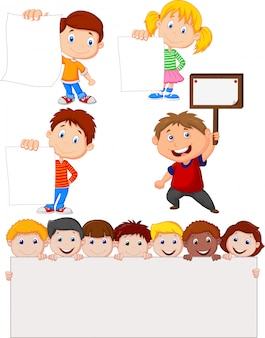 Cartoon children holding blank sign