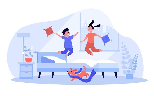 만화 어린이 침대에 점프.