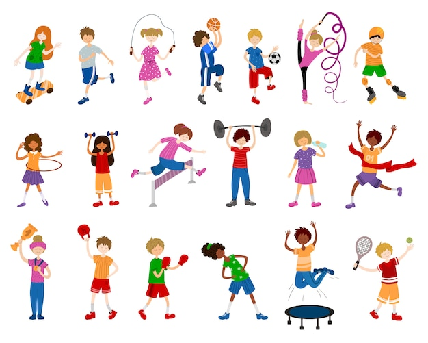 Cartoon children or kids, girls and boys, play sports