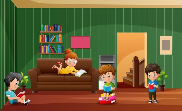 Cartoon the children learning at home