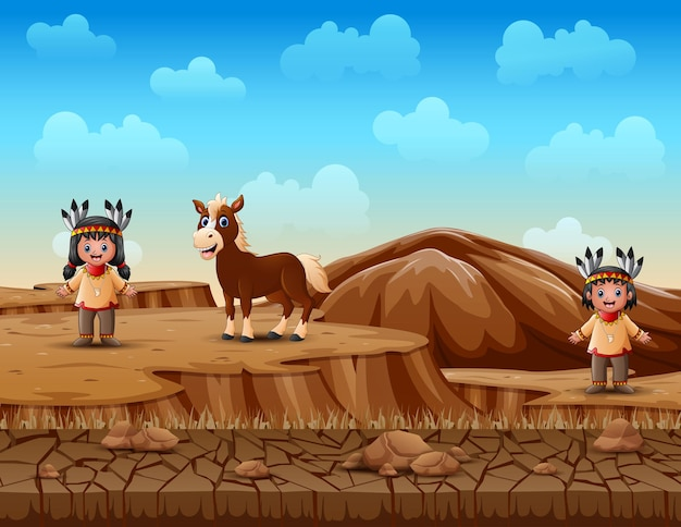 Cartoon children native indian american in dry land landscape