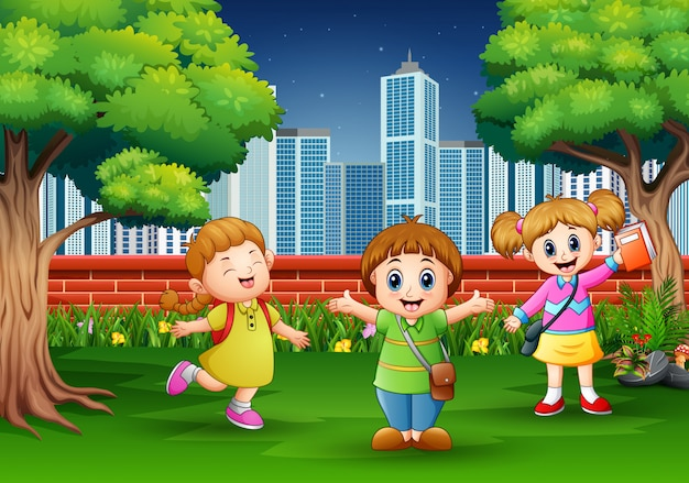 Cartoon children playing at the city park