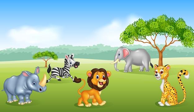사과 나무에서 그림을 재생하는 만화 어린이