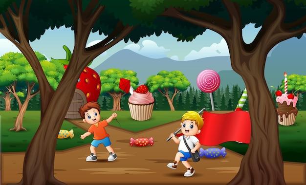 甘い土地で遊ぶ漫画の子供たち