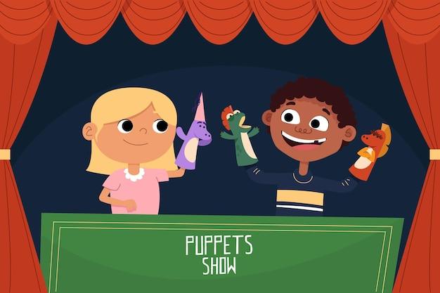 Bambini del fumetto che giocano con le marionette a mano