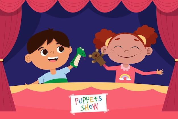Мультяшные дети играют с ручными куклами