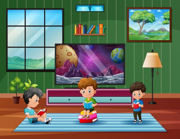 Cartoon the children reading book at home