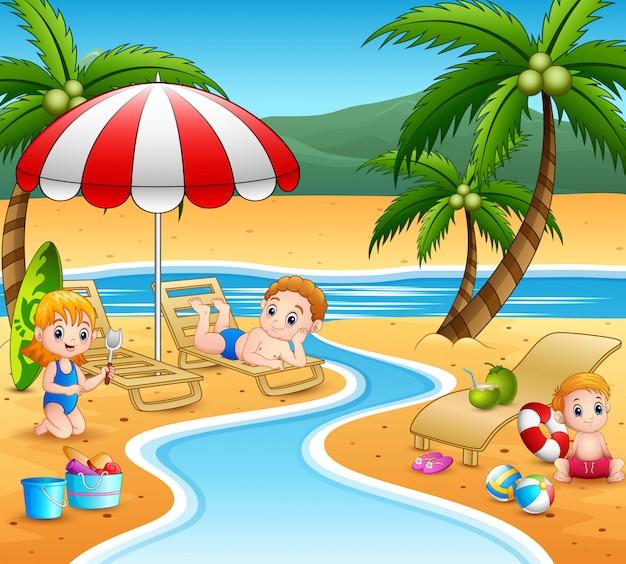 Мультяшные дети отдыхают на пляже