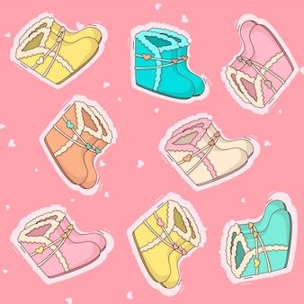 다른 색상의 만화 어린이 신발