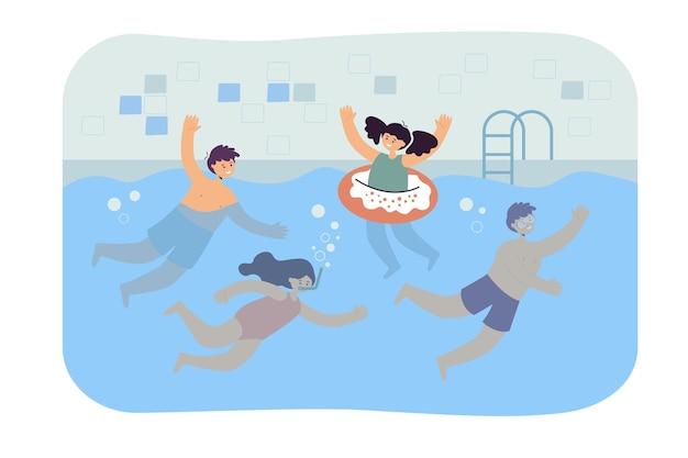 수영장에서 수영하는 만화 아이들. 평면 그림