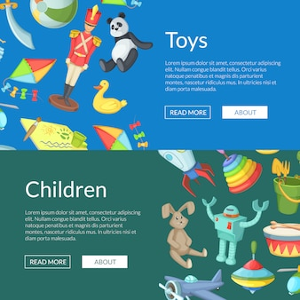 Cartoon children toys web banner templates illustration