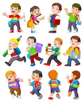Cartoon children with books and school supplies