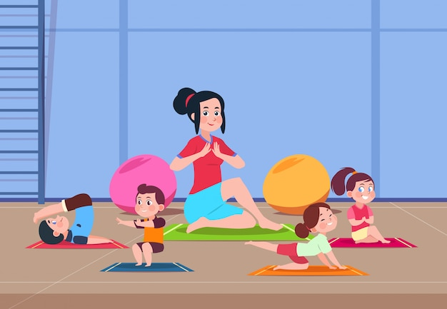 Cartoon children with instructor doing yoga exercises in gym