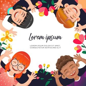 Cartoon childrens character celebration with flower illustration premium vector