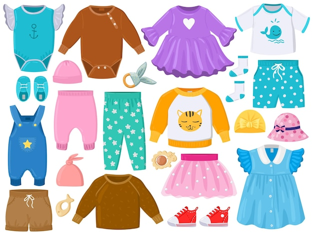 Мультяшные детские модные наряды, одежда, обувь, головные уборы. элементы детской одежды, брюки, платье, комбинезон, панама векторные иллюстрации набор. одежда для маленьких девочек и мальчиков