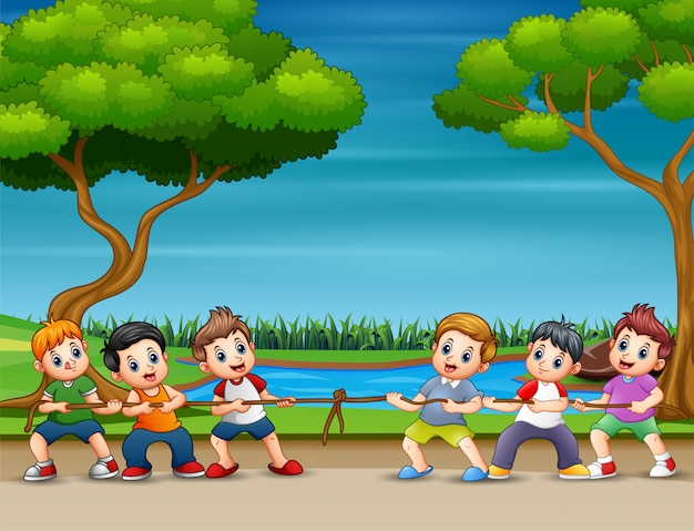 Cartoon childrens playing tug of war in the park