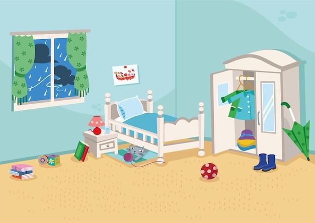 漫画の子供部屋の背景ベクトル図
