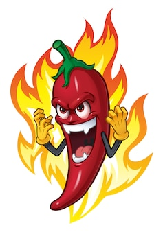Cartoon chili in fire