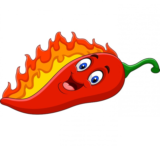 Cartoon chili pepper with flames