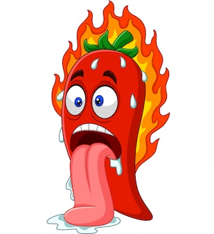 Cartoon chili pepper with tongue out