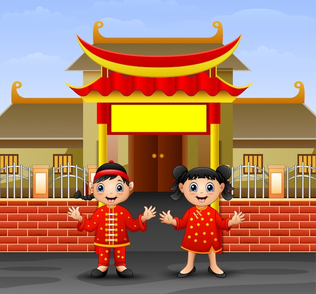 Cartoon chinese kids in front of the temple