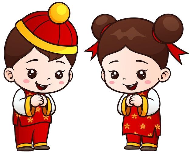Cartoon chinese kids