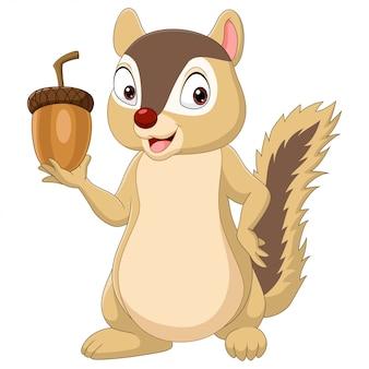Cartoon chipmunk holding an acorn