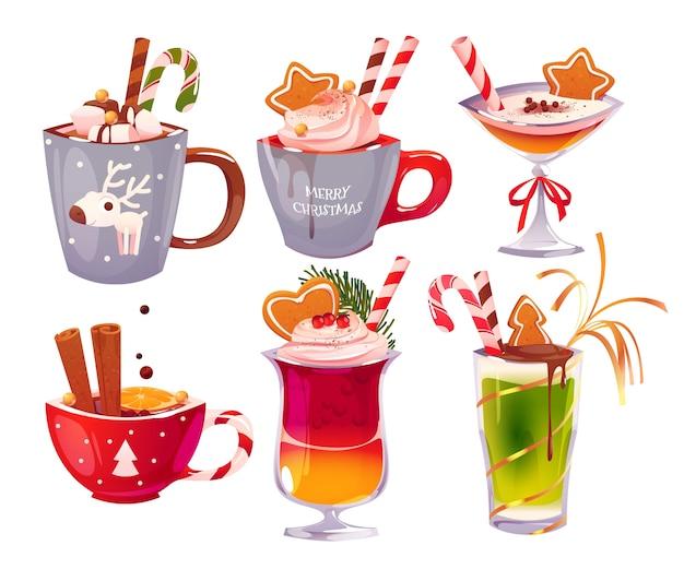 만화 크리스마스 알코올 음료 컬렉션