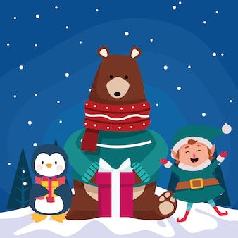 Cartoon christmas animals and elf with gift box