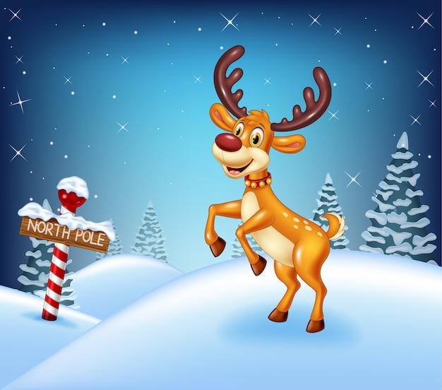 Cartoon christmas background with happy deer